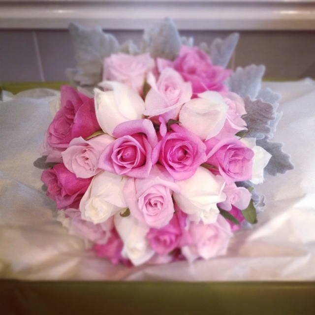 #Bridal #Bouquet of #pink & ivory roses, with silver suede foliage #weddings  http://www.RedEarthFlowers.com.au/