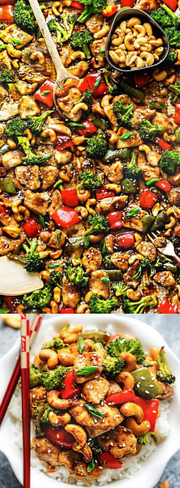 This Sheet Pan Cashew Chicken from The Recipe Critic is an easy weeknight meal inspired by your favorite take out! Tender chicken is surrounded by crisp veggies, crunchy cashews, and an incredible sweet and savory sauce!