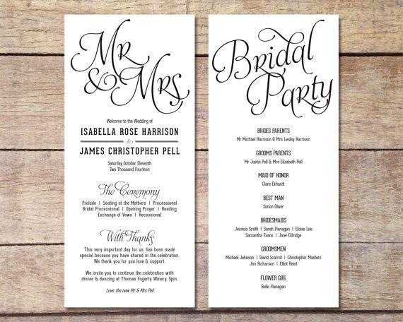 simple wedding program customizable elegant design simple classic wedding black and white