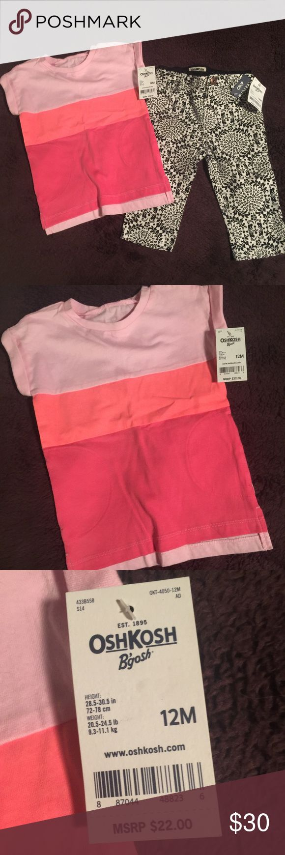 12 mo. girl clothing Brand new with tags. Both OshKosh B'gosh brand girls clothing; 12 mo. Pants are crop length and made of a durable denim like material with a dark blue and white pattern. Pink short sleeve top with pockets. OshKosh B'gosh Matching Sets