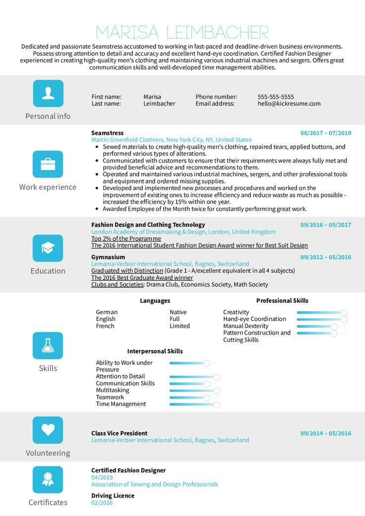 Seamstress Resume Sample Louiesportsmouth Com Customer Service Resume Resume Examples Web Designer Resume