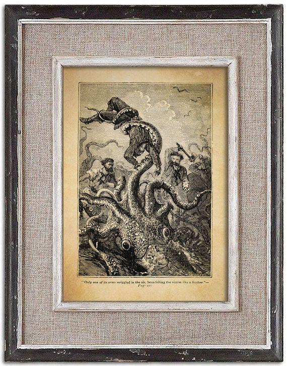 Forgotten vintage illustration of OCTOPUS No.3 by RoyalArtPrints