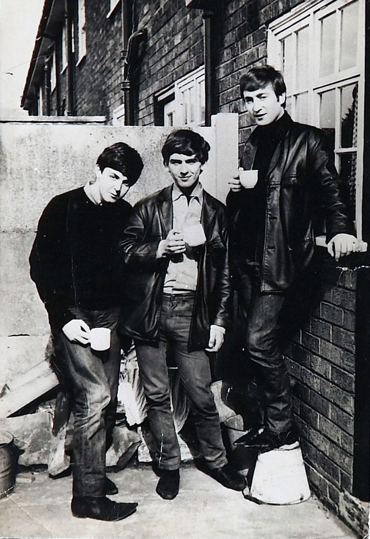Paul, George and John at Paul's house in Liverpool, September 1962. Photo by
