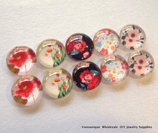 10% OFF - 10pcs 12mm Handmade Flower Photo Glass Cabochon PC348-M12