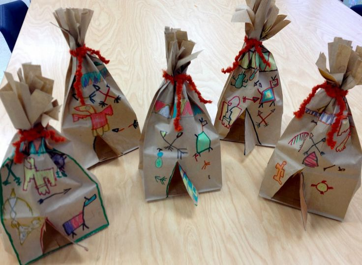 More Paper Bag Tepees-Thanksgiving Art/Native American Art/1st Grade/Art with Mr. Giannetto