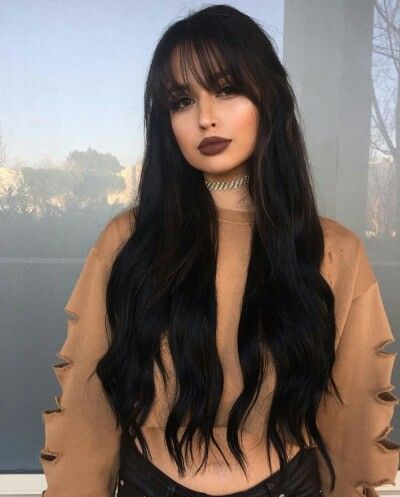 Long black hair with bangs