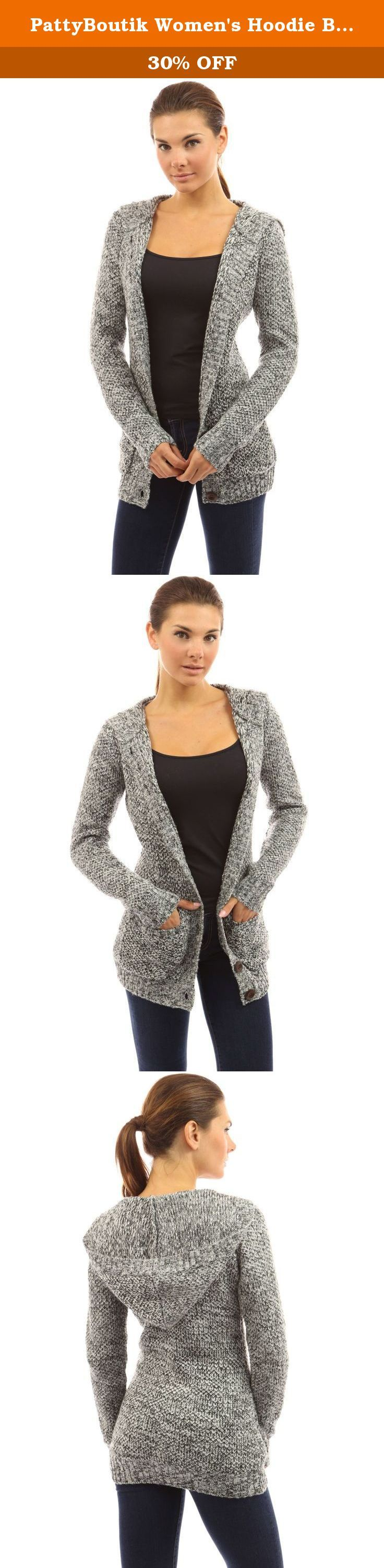 PattyBoutik Women's Hoodie Button Up Marled Knit Cardigan (Black and White M). PattyBoutik Hoodie Button Up Long Sleeve Pockets Marled Knit Sweater Cardigan. Model in pictures is 5 feet 8 inches (173cm) tall wearing size S.