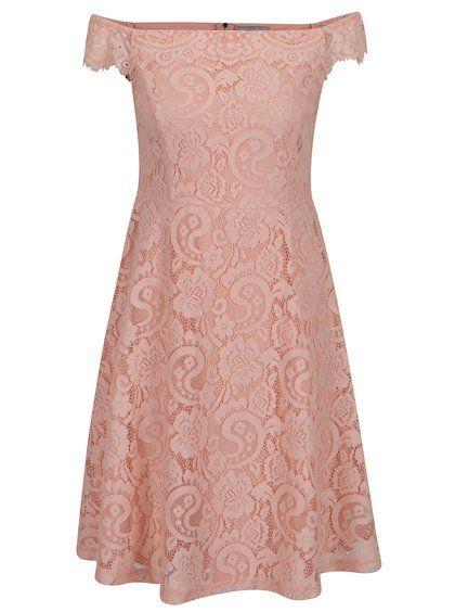 Ružové čipkované šaty s odhalenými ramenami Dorothy Perkins Petite