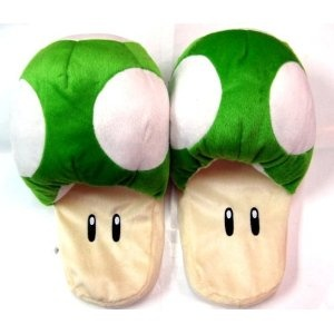 extra life slippers :): Extra Life, Slippers Stores, Super Mario Brother, Slippers Green, Mario Brothers, Life Slippers, Mushrooms Slippers