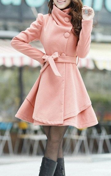 Pink Long Coat/ Winter Coat/Woman coat/ Long by Eloneeclothing, $60.00