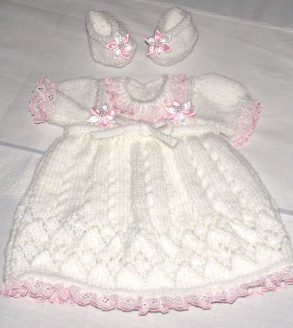 Hand knitted baby / reborn doll. Dress and booties by bythemill, $22.00