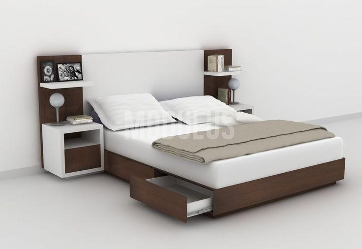 Juego de Dormitorio, laqueado, lustrado, enchapado en madera, diseño