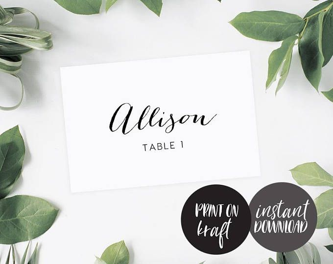 Flat Place Cards Editable Pdf Template INSTANT DOWNLOAD Name Card