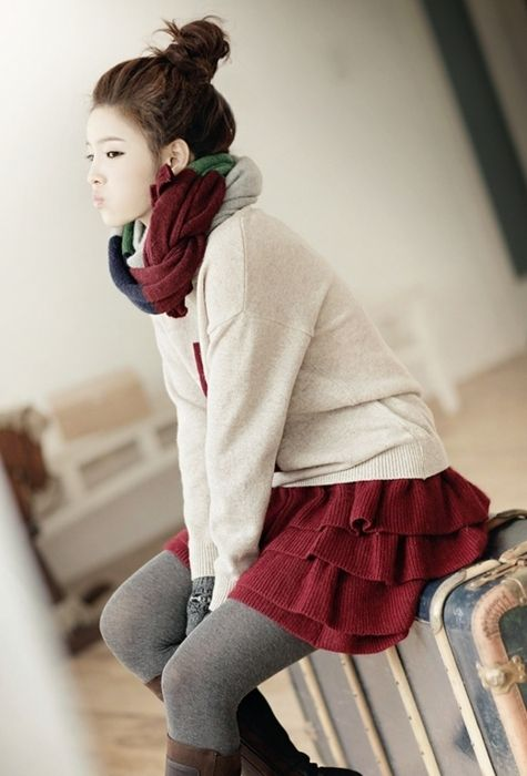 sweater, skirt, tights, boots, bun, scarf