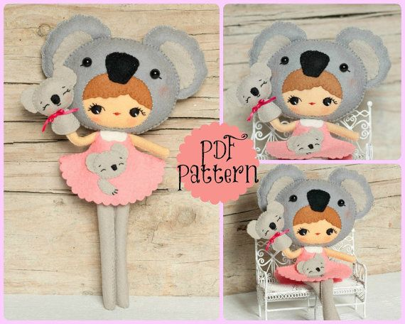 PDF. Koala girl with puppet. Plush Doll Pattern Softie by Noialand