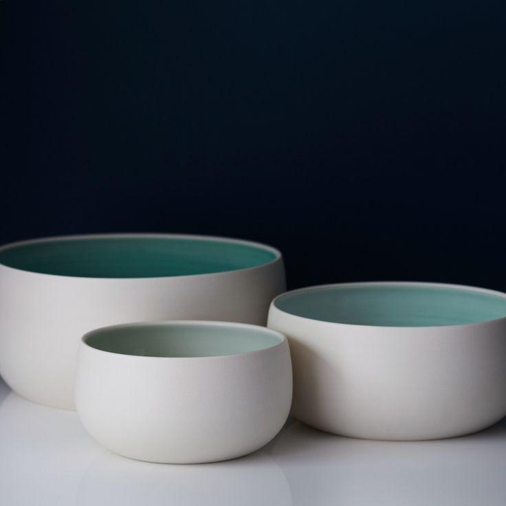 Ombre Celedon Nesting Bowls