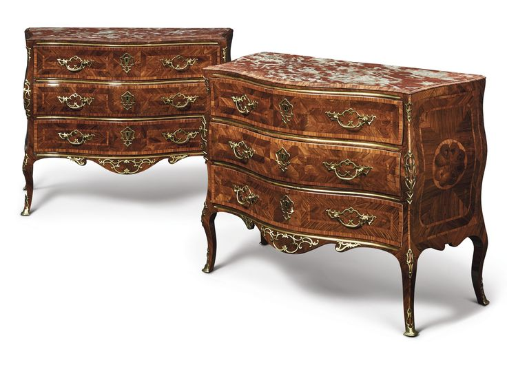 A PAIR OF ITALIAN ROCOCO GILT BRASS-MOUNTED TULIPWOOD, KINGWOOD AND PARQUETRY COMMODES SICILY, MID-18TH CENTURY