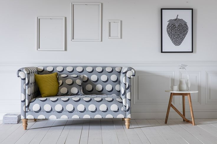 Simon 2-Seater Sofa in Iron Man Dots with Twig Side Table, Barnaby Cushion in Mustard Yellow & Strawberry Art Print