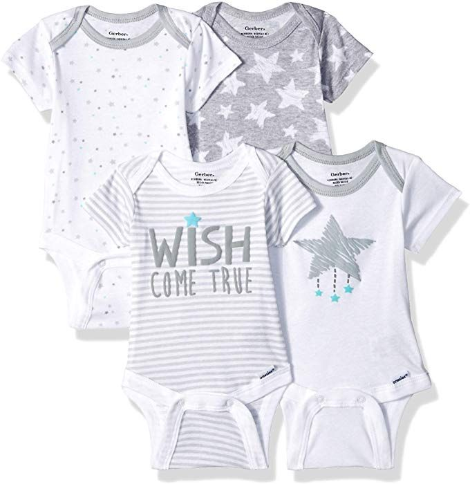 Gerber Baby 4 Pack Short Sleeve Onesies Bodysuit Wish Come True 0 3 Months Baby Clothes Online Fashionable Baby Clothes Baby Boutique Clothing