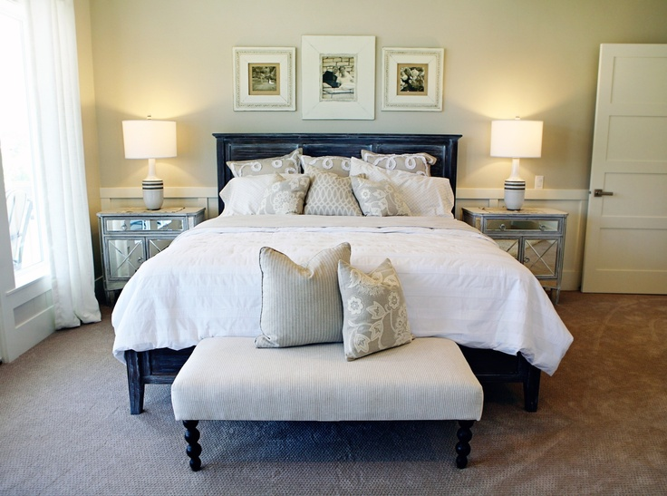 Perfect master suite: custom frames, custom bed, custom ottoman. Pillows, lamps, accessories, etc., all available: www.4-chairs.com