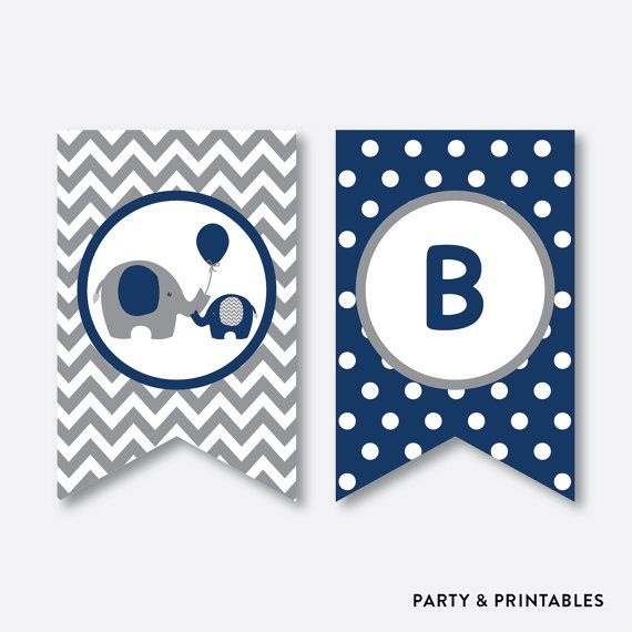Instant Download, Elephant Baby Shower Banner, Baby Sprinkle Banner, Welcome Baby Banner, It's a Boy, It's a Girl, Navy Gray Chevron(SBS.41)