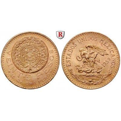 Mexiko, Vereinigte Staaten, 20 Pesos 1959, 15,0 g fein, vz-st: Vereinigte Staaten seit 1905. 20 Pesos 15,0 g fein, 1959. Aztekischer… #coins