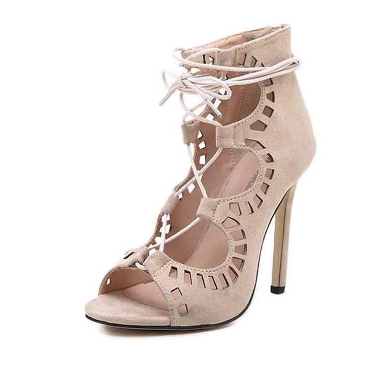 Beige Sexy High Heel Gladiator Shoes