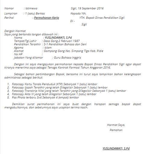 25+ Contoh Surat Lamaran Kerja Ke Dinas Pendidikan ...