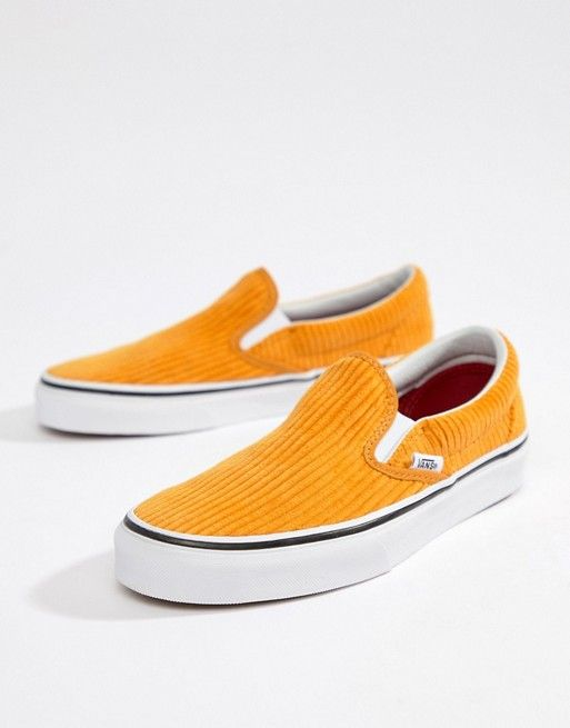 58ff0341044f Vans Yellow Corduroy Classic Slip-On Sneakers