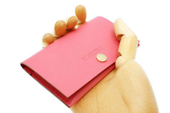 Personalised Women minimal elegant pink lambskin by Kokoroleather