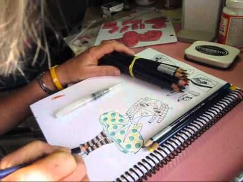 Kim's Kreative Korner - Art Journaling video - lots of techniques demonstrated in this video.