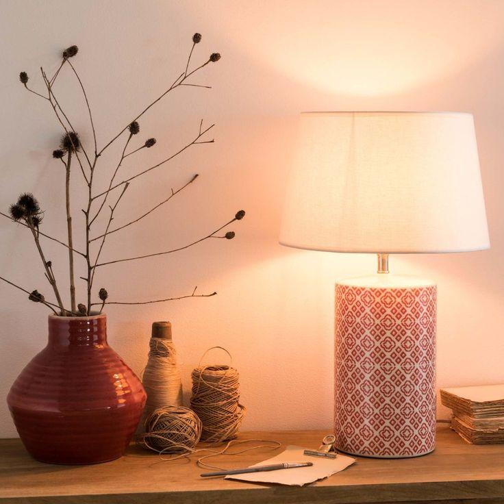 Lampe en céramique motifs rouges et abat-jour écru | Maisons du Monde