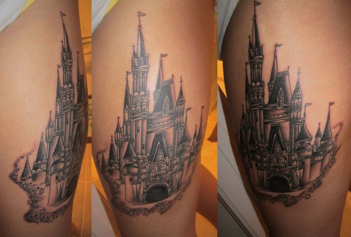 My second tattoo! Cinderella's castle done by Billy Jordan at Tattoo Zone!