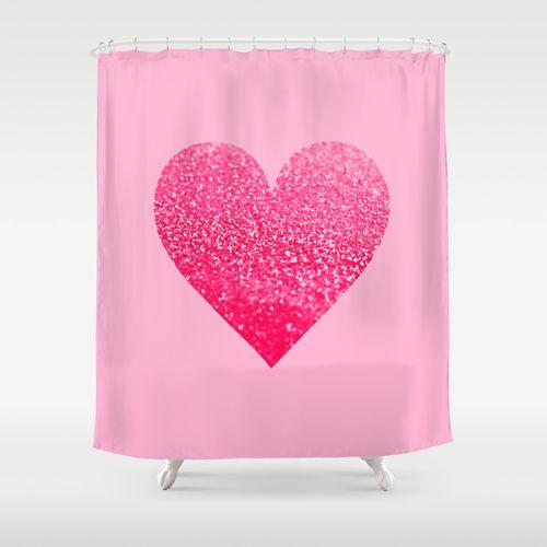 "GATSBY PINK PINK HEART by Monika Strigel Shower Curtain / 71"" by 74"" $68.00 #pink #heart #love #glitter"