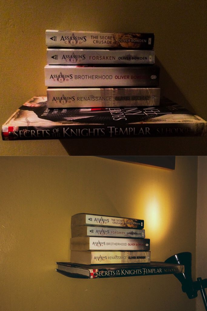 The #Book of Secrets - My #DIY Invisible book shelf. #decoration #idea #assassinscreed #novel #knightstemplar #artwork #fantasy