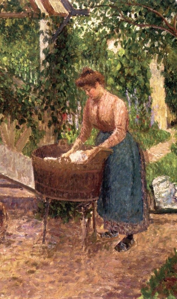 """Camille Pissarro (1830-1903) ~ """"Blanchisseuse à Eragny (Laundress)"""", 1899 (Détail)"""
