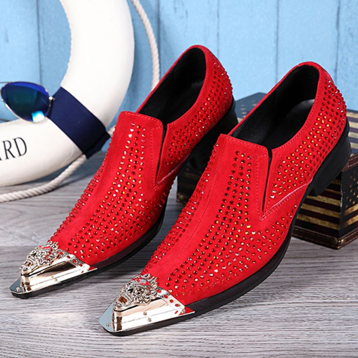 New Genuine Leather Formal Shoes Pointed Toe Crystal Rhinestone Italian Mens Dress Shoes Red Wedding Shoes Male Flats Big Size