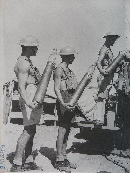 World War 2 soldiers with 3.7 inch anti aircraft shells