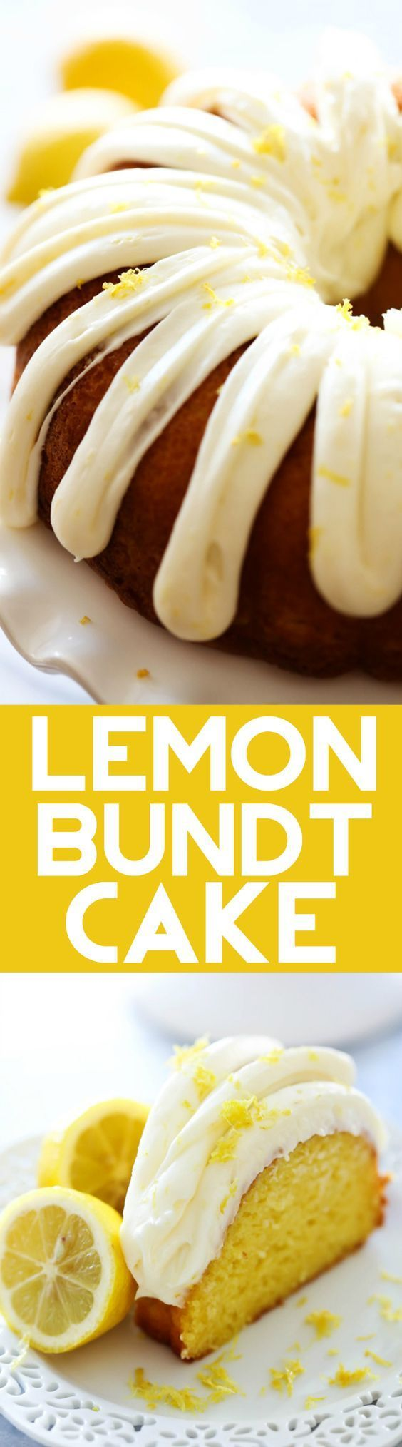 "The BEST Frosted Lemon Bundt Cake Recipe via Chef in Training - ""This Lemon Bundt Cake is bursting with refreshing and delicious flavor! It will be one of the moistest cakes you ever have the pleasure of trying! The frosting is AMAZING!"" The BEST Easy Lemon Desserts and Treats Recipes - Perfect For Easter, Mother's Day Brunch, Bridal or Baby Showers and Pretty Spring and Summer Holiday Party Refreshments!"