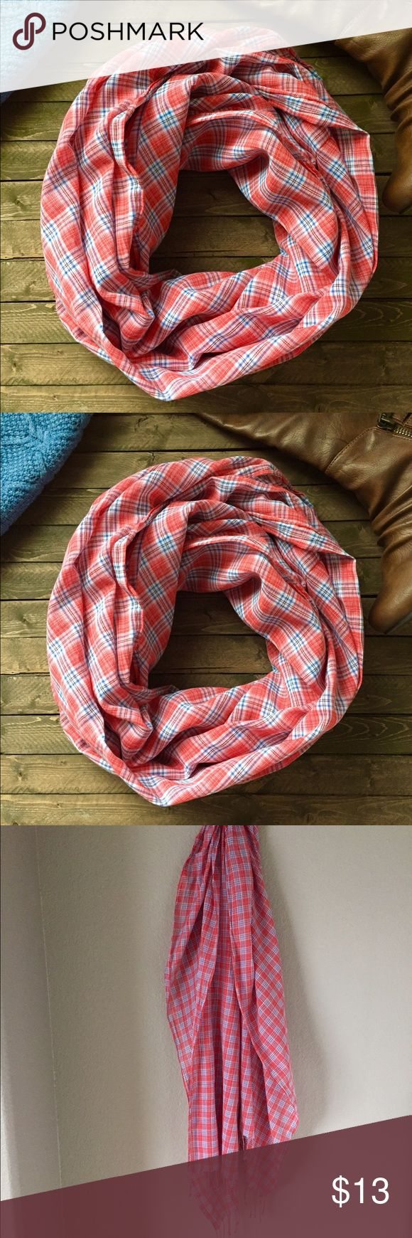 """💕GAP plaid blanket scarf. Printed plaid blanket scarf with fringe hem from GAP. A perfect addition to your wardrobe. Color is red, blue and white and can be worn as a wrap or scarf. Measures 29"""" wide and 81"""" in length. Perfect for layering over your favorite top and jeans. Material is cotton. Home is smoke and pet free. 🌺 GAP Accessories Scarves & Wraps"""