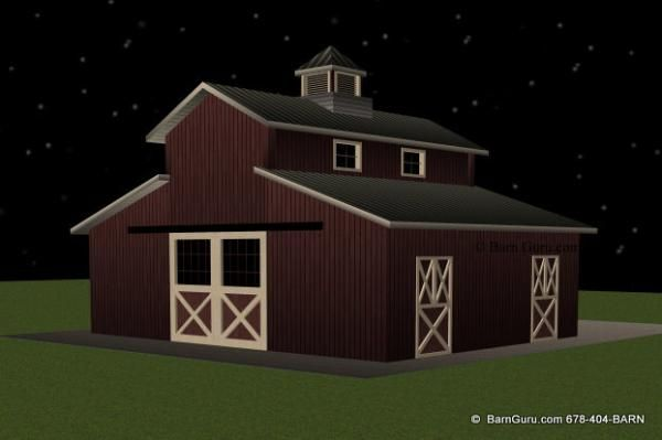 Barns horse barn designs and barn plans on pinterest for Horse barn designs