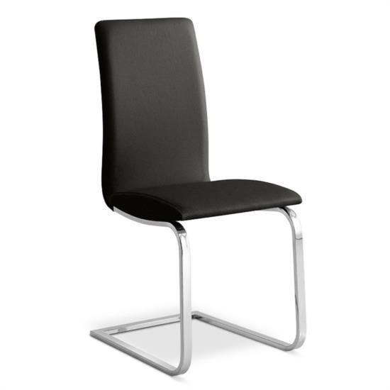 Sedia in metallo con gambe a slitta e sedile e schienale in ecopelle
