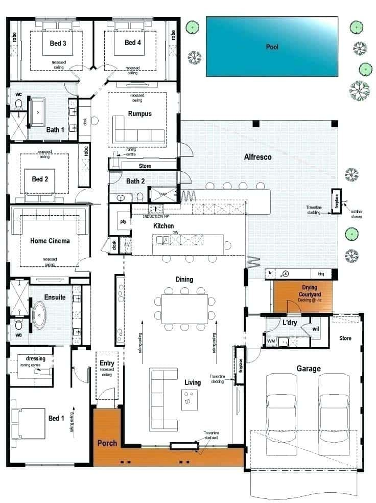 12 Cool Concepts Of How To Upgrade 4 Bedroom Modern House Plans Simphome House Layouts House Plans House Floor Plans