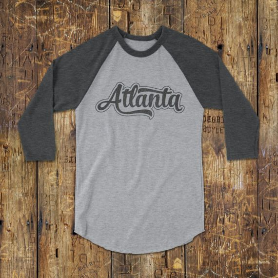 Atlanta T-Shirt - Atlanta Baseball Tee - Gray Atlanta Raglan shirt - Retro Tshirts - Vintage Graphic Tee - Long Sleeve T-Shirt - Unisex tees - Atlanta tshirt