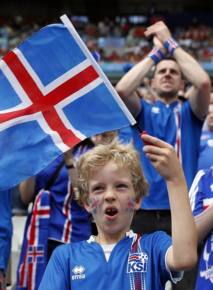 #EURO2016 A young Iceland fan waits for the start of the Euro 2016 group F football match between Iceland and Austria at the Stade de France stadium in...