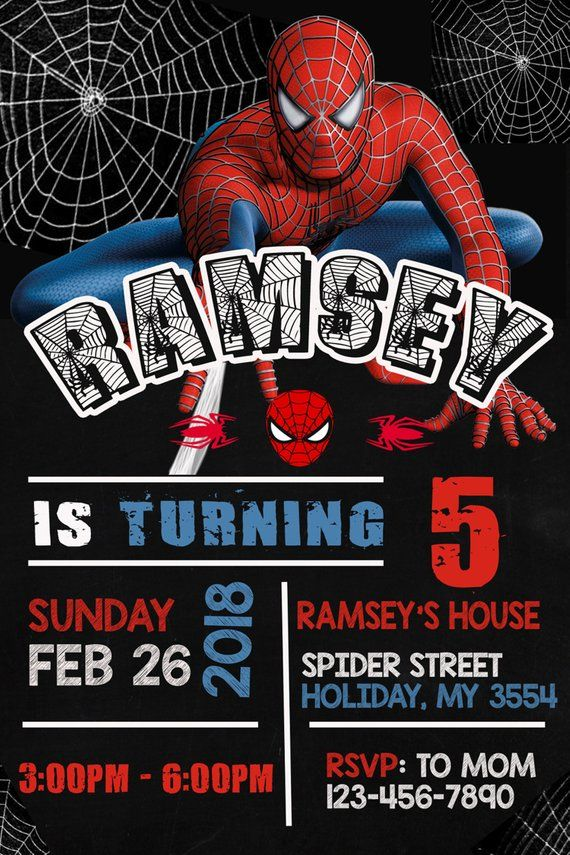 It's just a graphic of Printable Spiderman Invitations intended for wording
