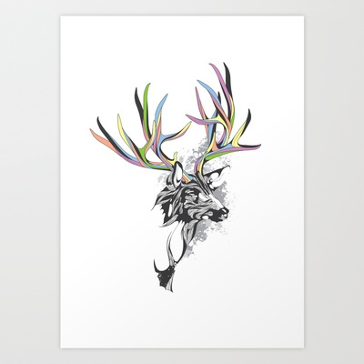 White-Tailed Deer Art Print by KUI2524 - $15.00
