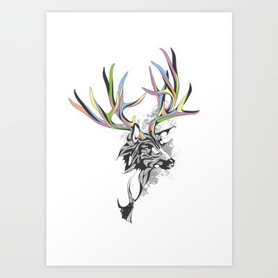White-Tailed Deer Art Print by KUI2524 - $15.00