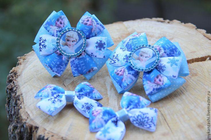 Купить Бантики для волос Холодное сердце - голубой, бантик, бантики для волос, Бантики из лент