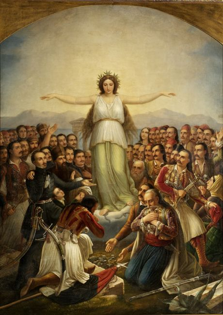 Grateful Hellas (Greece personified as a woman, with revolutionaries who participated in the Greek War of Independence);(1858), National Gallery of Athens; Theodoros Vryzakis (1814–1878)